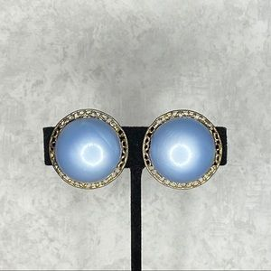 Vintage Light Blue & Silver Tone Clip On Earrings